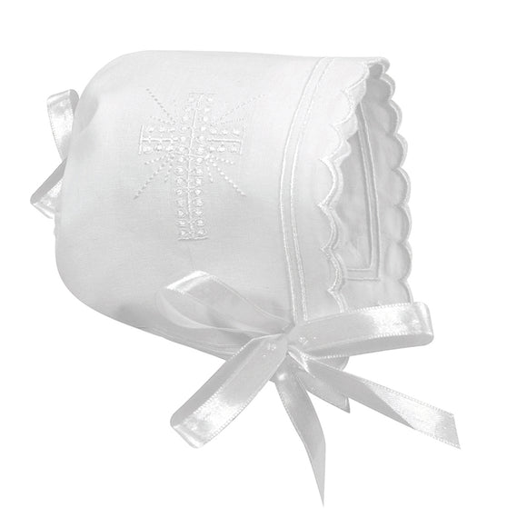 Stephan Baby Cross Bonnet - Scallop Edge