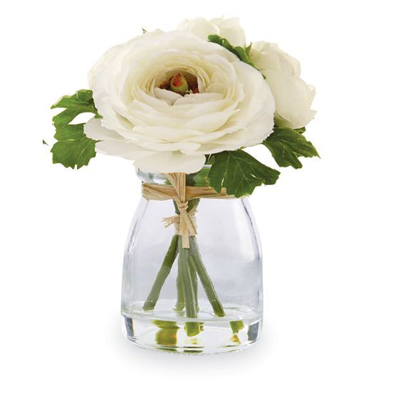 Mud Pie White Faux Ranunculus Jars