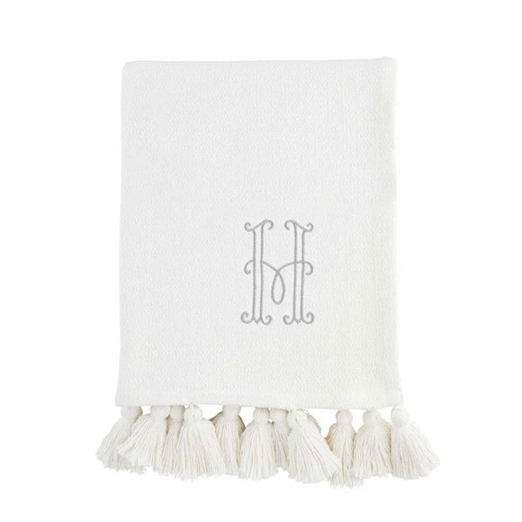 Mud Pie Initial White Throw Blanket - P