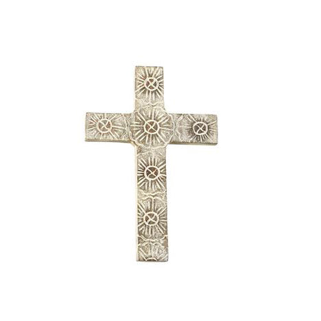 Mud Pie Medium Floral Carved Wood Cross