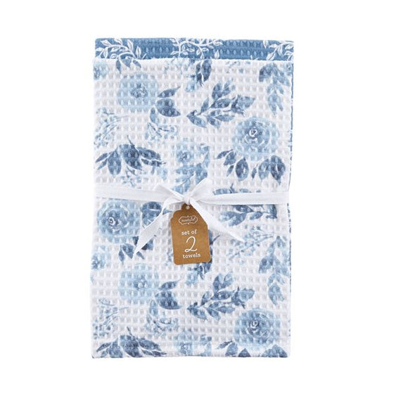 Mud Pie All Over Blue Floral Dish Towel Set