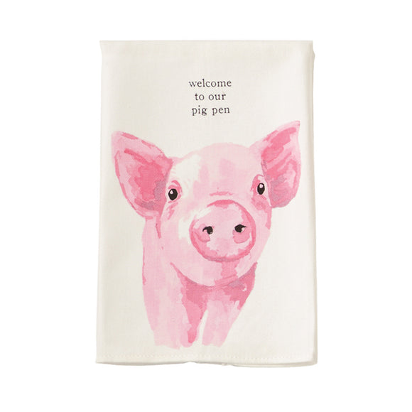 Mud Pie Farm Towel - Pig