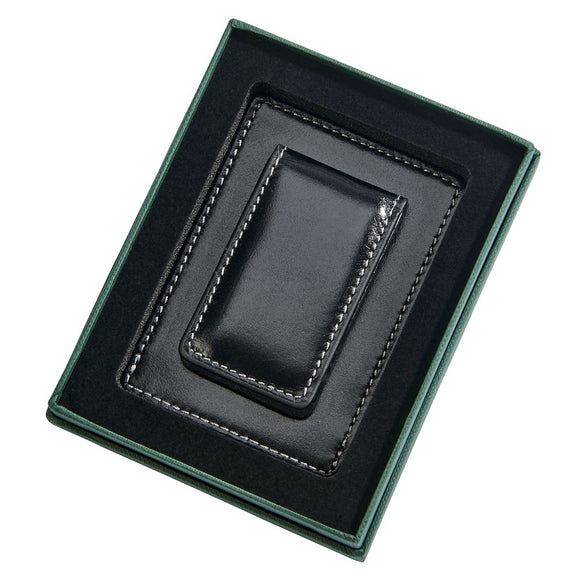 Black Leather Money Clip & Card Holder