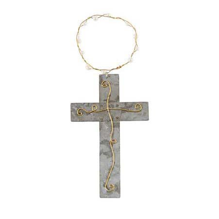 Mud Pie Silver Pearl Cross Ornament