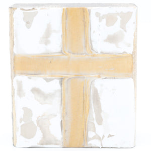 "4"" x 4"" Block w/Cross White"