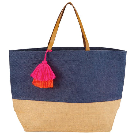 Navy Two Tone Jute Bag