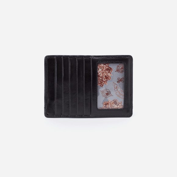 Hobo Euro Slide Credit Card Wallet - Black Vintage Hide