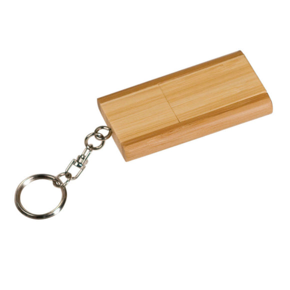 8GB 2-Tone Bamboo Flip Style USB Flash Drive with Keychain