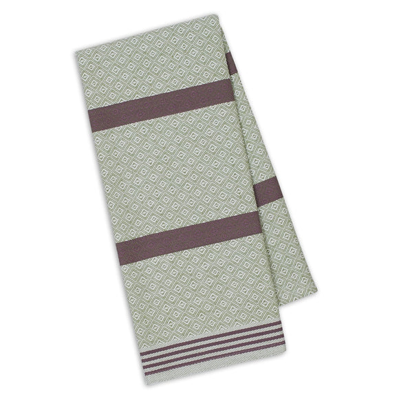 Luxe Diamond Dish Towel - Sage/Grape