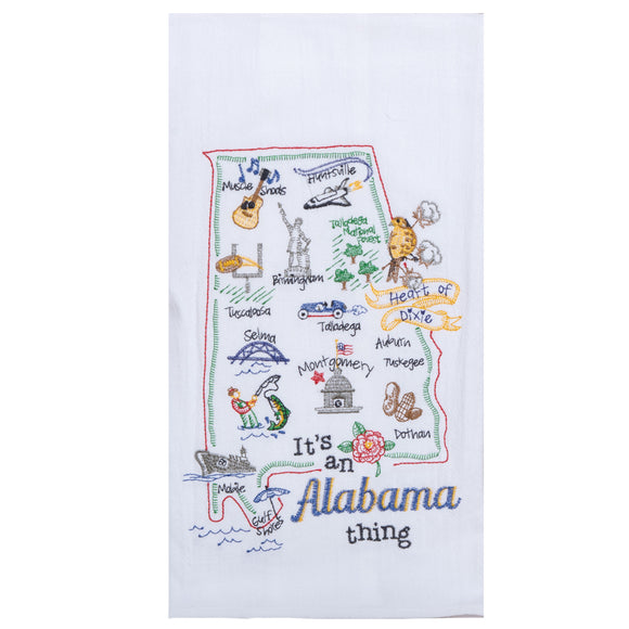 Alabama Embroidered Flour Sack Towel