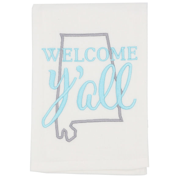 HBAT State of Alabama Welcome Y'all Gray Spa Towel