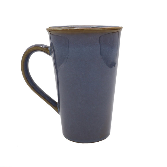 Blue Stoneware Mug With Tea Bag Slot