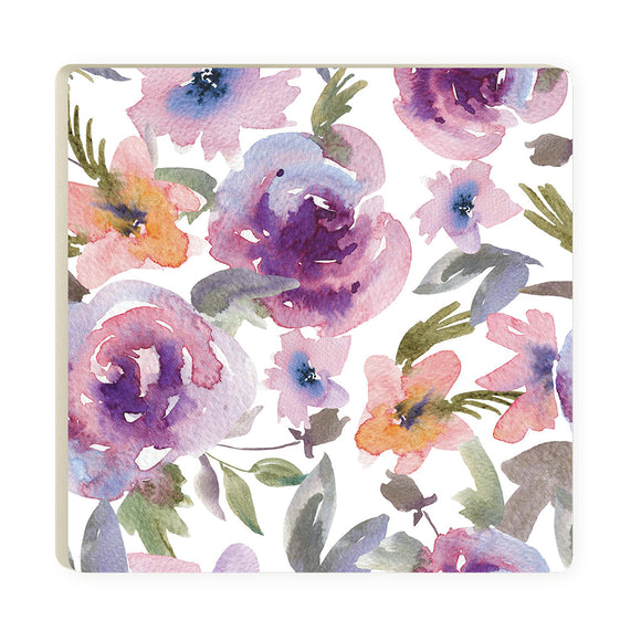 White & Purple Floral Coaster