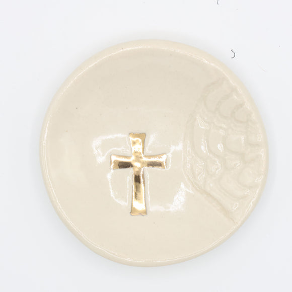 White Gold Cross Ring Dish