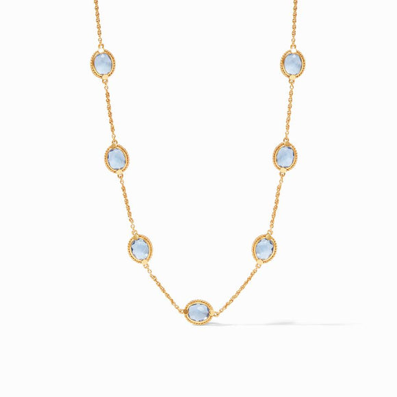 Julie Vos Calypso Delicate Necklace - Chalcedony Blue