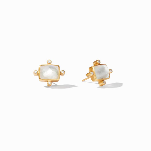 Julie Vos Clara Stud Earrings - Iridescent Clear Crystal