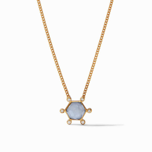 Julie Vos Cosmo Solitaire Necklace - Iridescent Chalcedony Blue