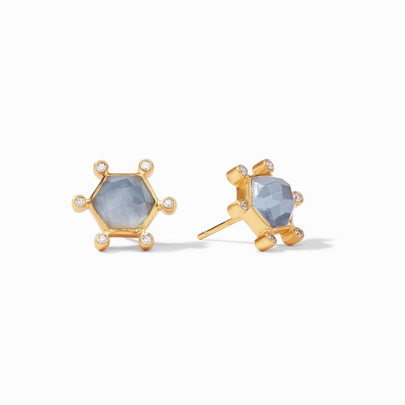 Julie Vos Cosmo Stud Earrings - Iridescent Chalcedony Blue