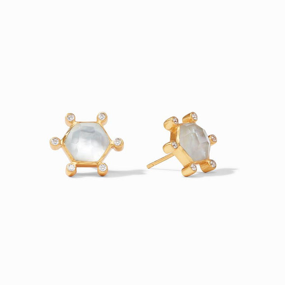 Julie Vos Cosmo Stud Earrings - Iridescent Clear Crystal