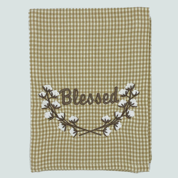 HBAT Taupe Gingham Cotton Boll Wreath Blessed Towel