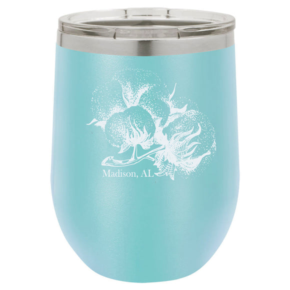 Cotton Boll Madison 12oz Light Blue Stemless Tumbler