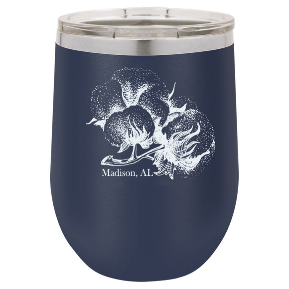Cotton Boll Madison 12oz Navy Blue Stemless Tumbler