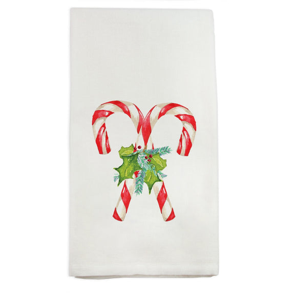 Candy Canes with Greens Dish Towel