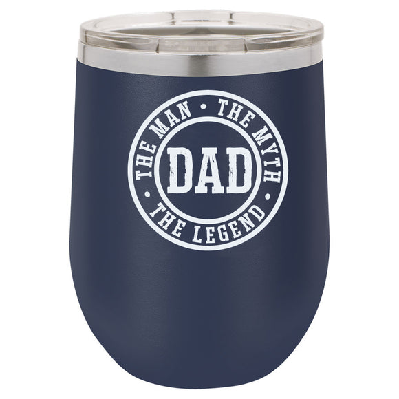 Dad Man Myth Legend 12oz Navy Blue Stemless Tumbler