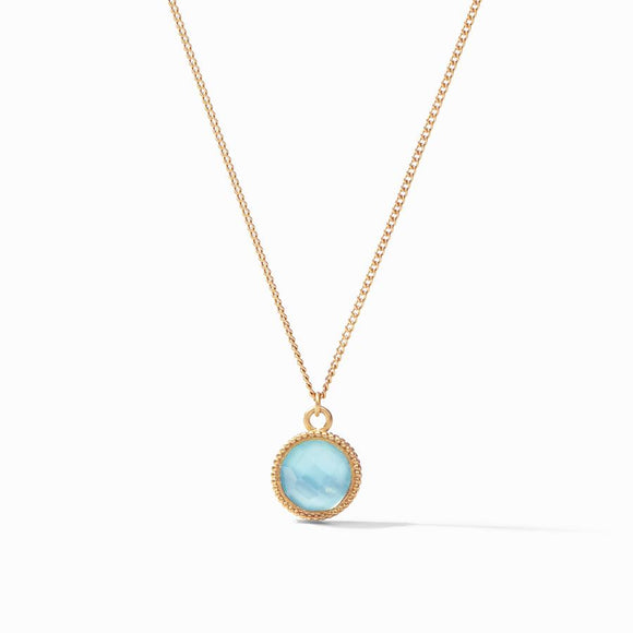 Julie Vos Fleur-de-Lis Solitaire Necklace Reversible - Gold/Iridescent Bahamian Blue