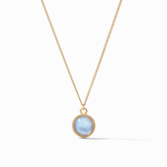 Julie Vos Fleur-de-Lis Solitaire Necklace Reversible - Gold/Iridescent Chalcedony Blue