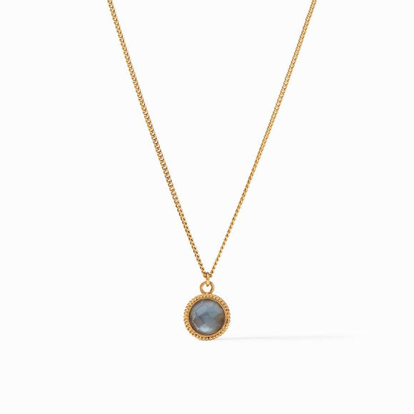Julie Vos Fleur-de-Lis Solitaire Necklace Reversible - Gold/Iridescent Slate Blue