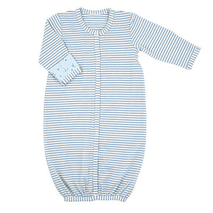 Blue Geo Stripe Newborn Gown