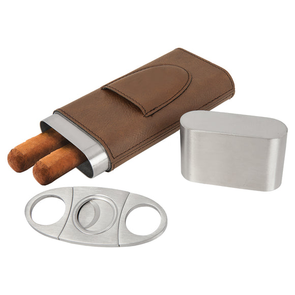 Leatherette Cigar Case with Cutter Dark Brown With One Letter