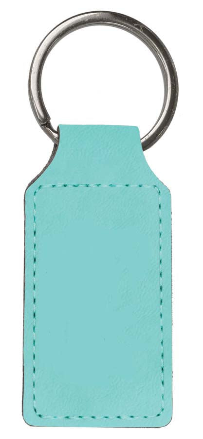 Teal Leatherette Rectangle Keychain