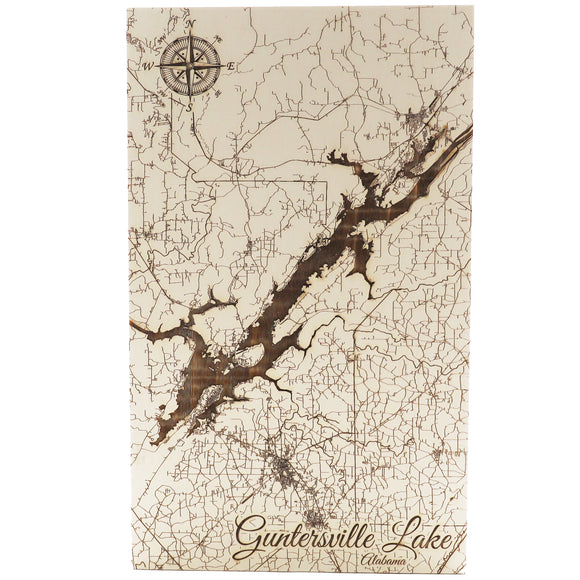 Guntersville Paper Blanch Small Lake Wood Wall Hanging