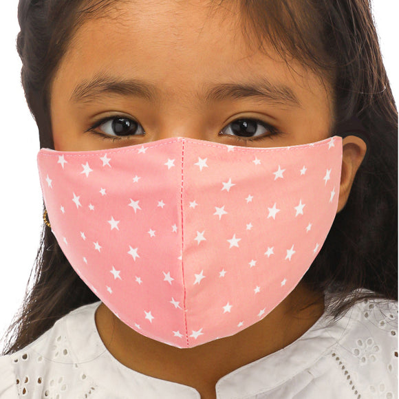 Kids Peach Stars Face Mask