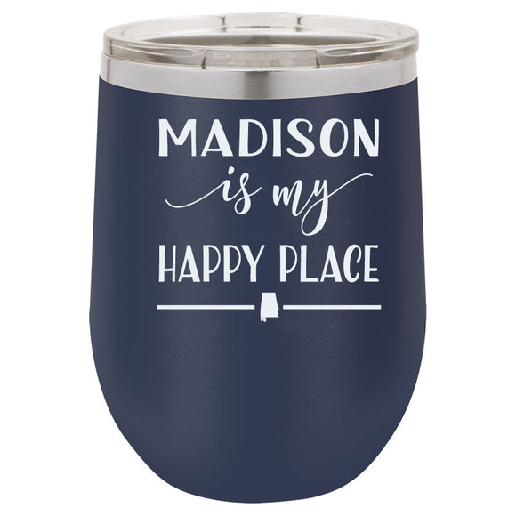 Madison Is My Happy Place 12oz Navy Blue Stemless Tumbler