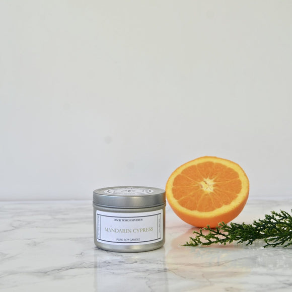 Back Porch Studios Mandarin & Cypress 4oz Tin Candle