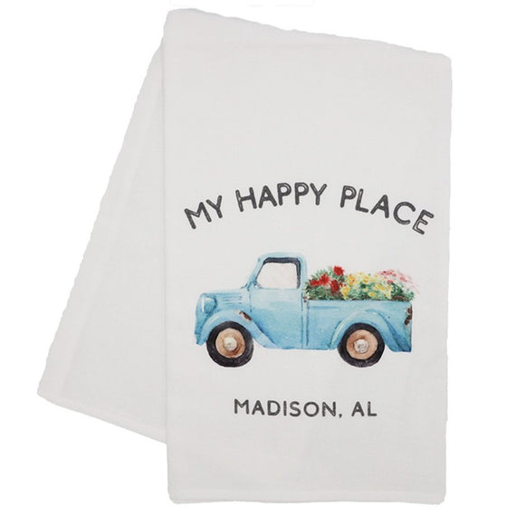 Flour Sack Towel - Happy Place Blue Truck Madison