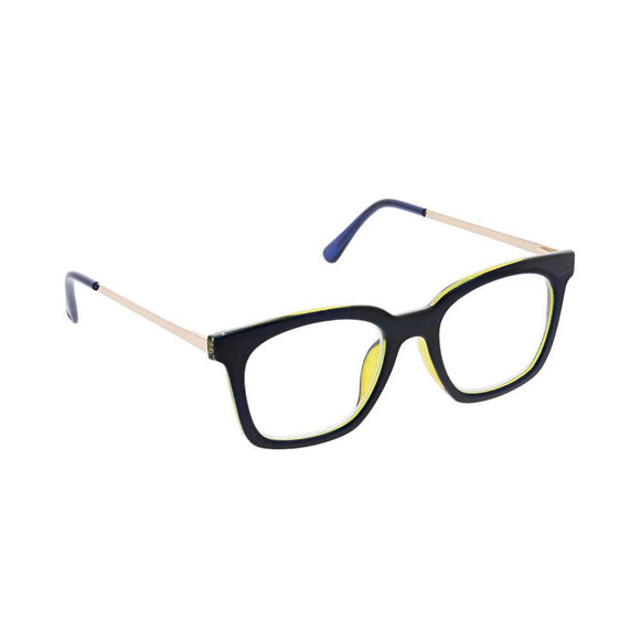 Peepers Modern Metal Navy & Gold Glasses