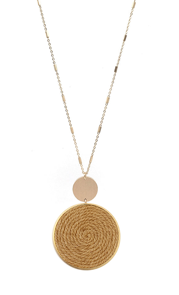Gold Necklace with Brown Pendant
