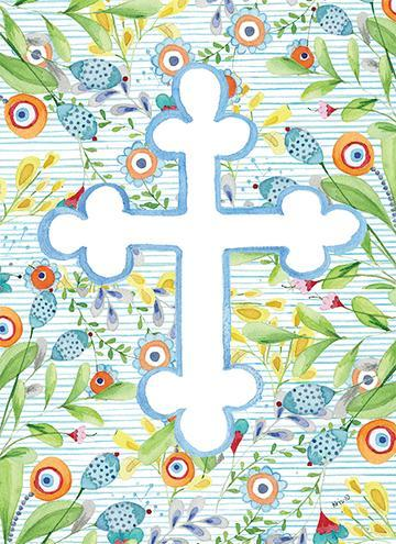 Blue Floral Cross Card