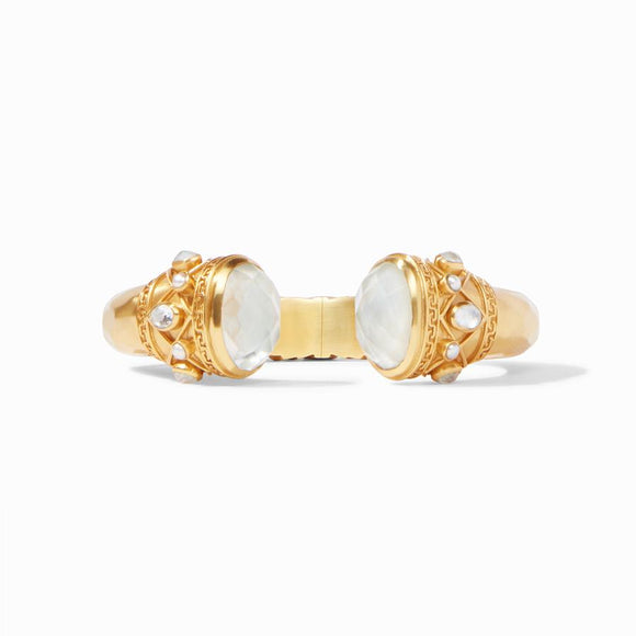 Julie Vos Savannah Hinge Cuff - Iridescent Clear Crystal/Pearl Accents