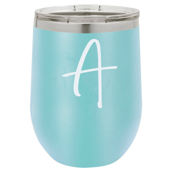 Single Letter 12oz Teal Stemless Tumbler
