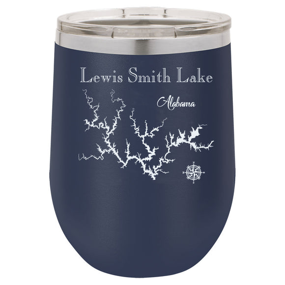 Smith Lake 12oz Navy Blue Stemless Tumbler