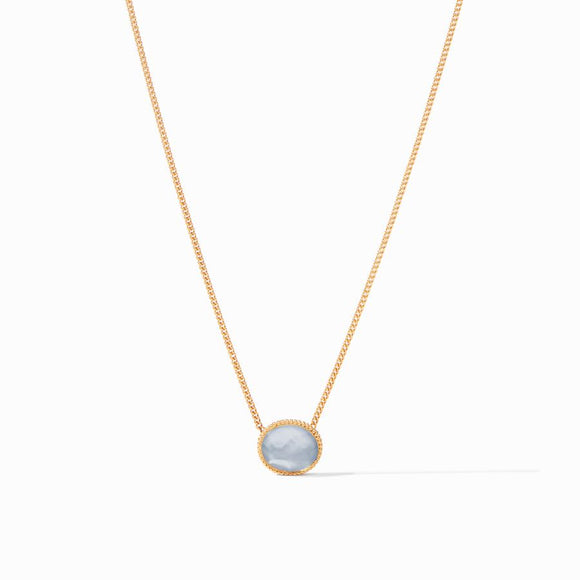 Julie Vos Verona Solitaire Necklace - Iridescent Chalcedony Blue