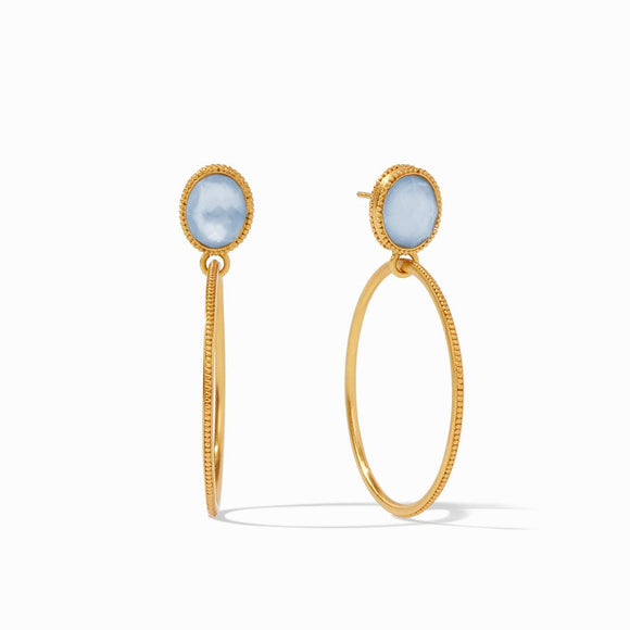 Julie Vos Verona Statement Earrings - Iridescent Chalcedony Blue