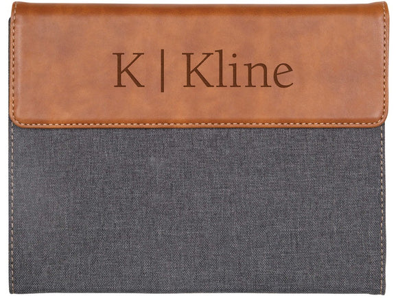 Grey & Tan Faux Leather Padfolio Small w/Personalization