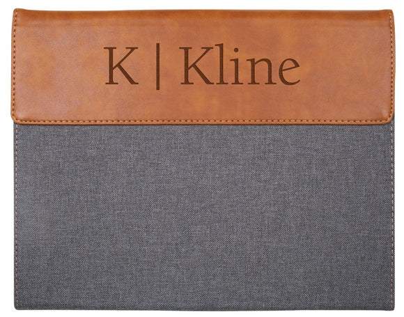 Gray & Tan Faux Leather Padfolio Large w/Personalization