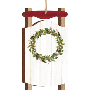 Sled Ornament w/Wreath & Personalization